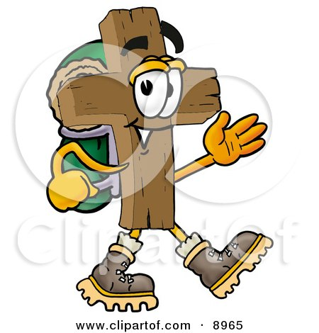 Clipart Picture of a Wooden Cross Mascot Cartoon Character Hiking and Carrying a Backpack by Toons4Biz