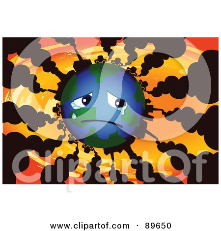 Royalty-Free (RF) Clipart Illustration of a Sad Globe Crying, With Vehicles And Factories Polluting The Atmosphere With Smoke by mayawizard101