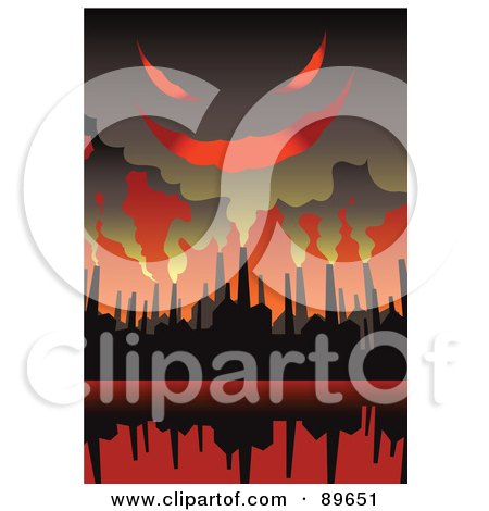 Evil Cloud Of Smoke Above Factory Chimneys In A Red Sky Posters, Art Prints