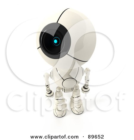 Royalty-Free (RF) Clipart Illustration of a 3d Shiro Maru Robot Looking Up To The Left by Leo Blanchette