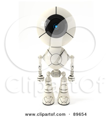 Royalty-Free (RF) Clipart Illustration of a 3d Shiro Maru Robot Standing And Facing Front by Leo Blanchette