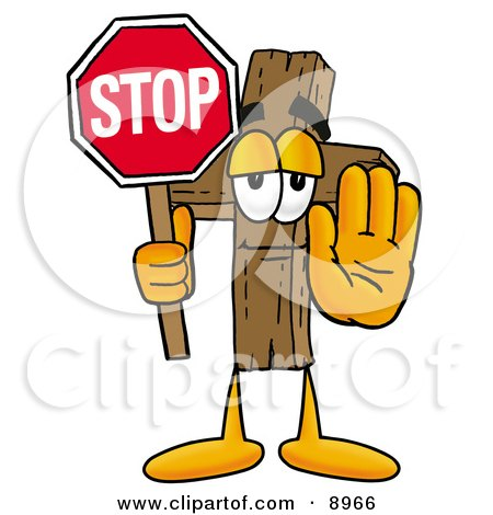 Clipart Picture of a Wooden Cross Mascot Cartoon Character Holding a Stop Sign by Toons4Biz