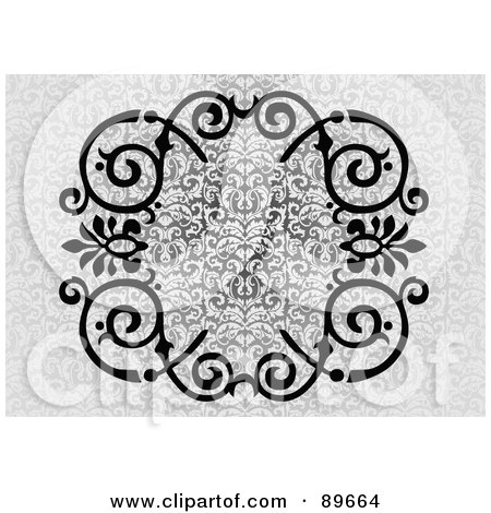 Royalty-Free (RF) Clipart Illustration of a Black Swirl Border Over A Gray Floral Background by BestVector