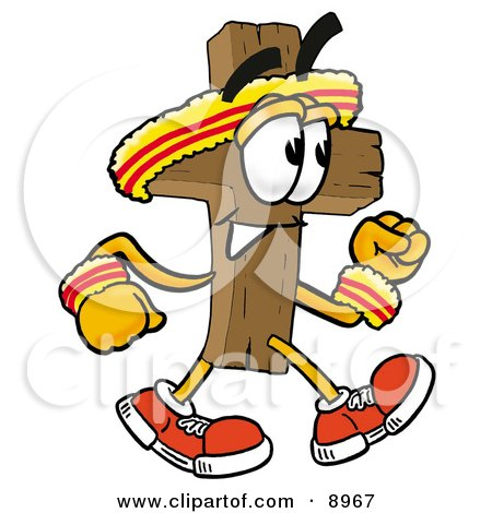 Clipart Picture of a Wooden Cross Mascot Cartoon Character Speed Walking or Jogging by Toons4Biz