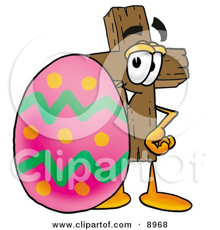Clipart Picture of a Wooden Cross Mascot Cartoon Character Standing Beside an Easter Egg by Toons4Biz