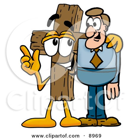 Clipart Picture of a Wooden Cross Mascot Cartoon Character Talking to a Business Man by Toons4Biz