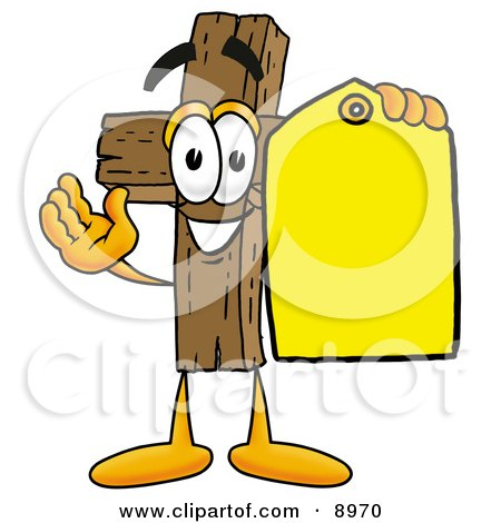 Clipart Picture of a Wooden Cross Mascot Cartoon Character Holding a Yellow Sales Price Tag by Toons4Biz