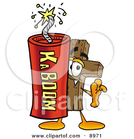 Clipart Picture of a Wooden Cross Mascot Cartoon Character Standing With a Lit Stick of Dynamite by Toons4Biz