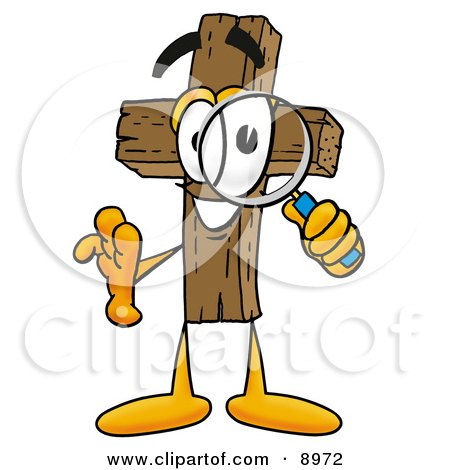 Clipart Picture of a Wooden Cross Mascot Cartoon Character Looking Through a Magnifying Glass by Toons4Biz