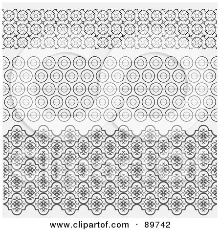 Royalty-Free (RF) Clipart Illustration of a Digital Collage Of Three Decorative Borders Over Gray by BestVector