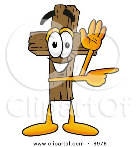 Clipart Picture of a Wooden Cross Mascot Cartoon Character Waving and Pointing by Toons4Biz