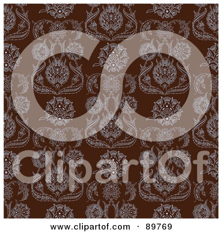 Royalty-Free (RF) Clipart Illustration of a Seamless Damask Pattern Background - Version 2 by BestVector