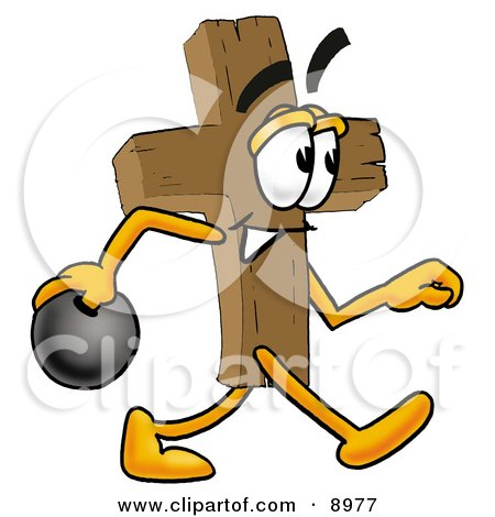 Clipart Picture of a Wooden Cross Mascot Cartoon Character Holding a Bowling Ball by Toons4Biz