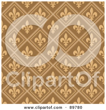 Royalty-Free (RF) Clipart Illustration of a Seamless Fleur de Lys Pattern Background - Version 1 by BestVector