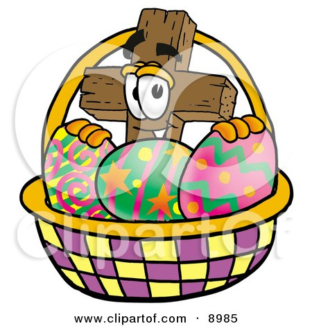 Wooden Cross Mascot Cartoon Character in an Easter Basket Full of Decorated Easter Eggs Posters, Art Prints