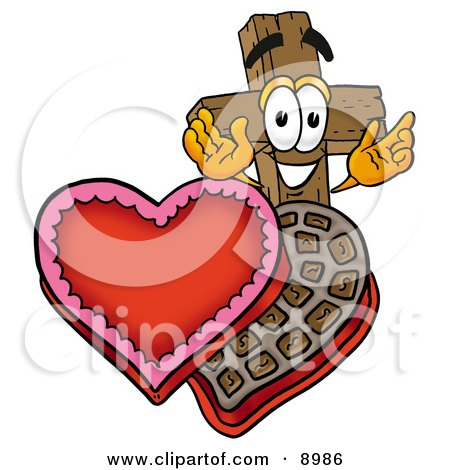 Clipart Picture of a Wooden Cross Mascot Cartoon Character With an Open Box of Valentines Day Chocolate Candies by Toons4Biz