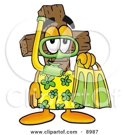 Wooden Cross Mascot Cartoon Character in Green and Yellow Snorkel Gear Posters, Art Prints