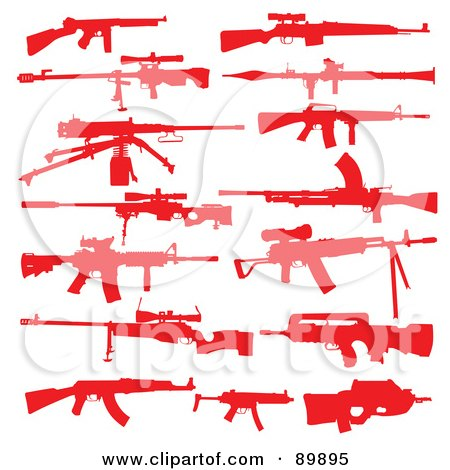 Royalty-Free (RF) Clipart Illustration of a Digital Collage Of Red Silhouetted Rifles by BestVector
