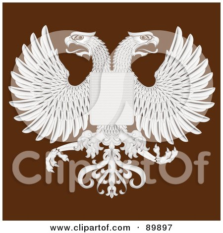 Royalty-Free (RF) Clipart Illustration of Eagles And A Shield Over Brown by BestVector
