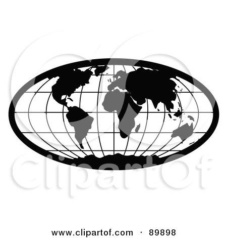 Royalty-Free (RF) Clipart Illustration of a Stretched Black Oval World Atlas Globe by BestVector