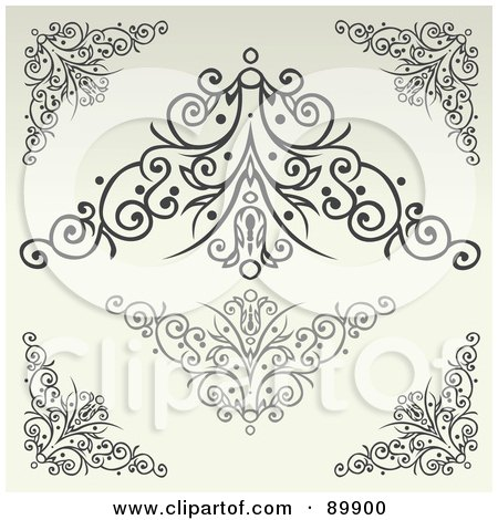 Royalty-Free (RF) Clipart Illustration of a Digital Collage Of Swirly Designs Over Beige - Version 2 by BestVector