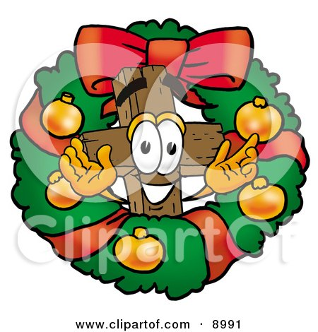 Clipart Picture of a Wooden Cross Mascot Cartoon Character in the Center of a Christmas Wreath by Toons4Biz