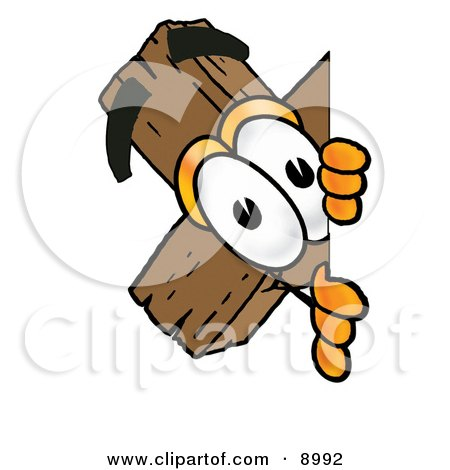 Clipart Picture of a Wooden Cross Mascot Cartoon Character Peeking Around a Corner by Toons4Biz