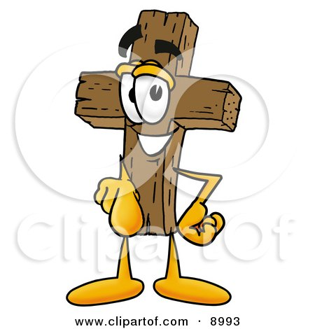 Clipart Picture of a Wooden Cross Mascot Cartoon Character Pointing at the Viewer by Toons4Biz