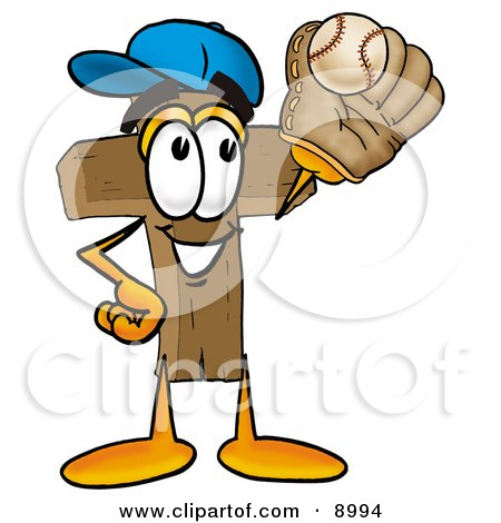 Clipart Picture of a Wooden Cross Mascot Cartoon Character Catching a Baseball With a Glove by Toons4Biz