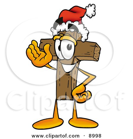 Clipart Picture of a Wooden Cross Mascot Cartoon Character Wearing a Santa Hat and Waving by Toons4Biz