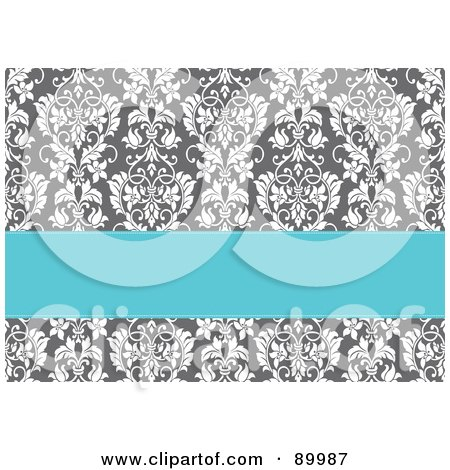 Royalty-Free (RF) Clipart Illustration of a Blue Text Box Over A Gray Floral Background by BestVector