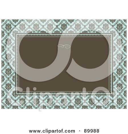 Royalty-Free (RF) Clipart Illustration of a Damask Patterned Invitation Border And Frame With Copyspace - Version 2 by BestVector