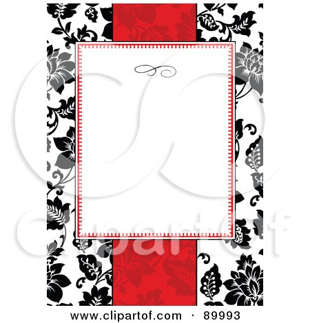 Royalty-Free (RF) Clipart Illustration of a Floral Invitation Border And Frame With Copyspace - Version 28 by BestVector
