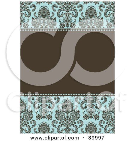Royalty-Free (RF) Clipart Illustration of a Damask Patterned Invitation Border And Frame With Copyspace - Version 3 by BestVector