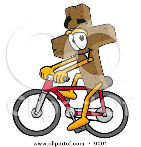 Clipart Picture of a Wooden Cross Mascot Cartoon Character Riding a Bicycle by Toons4Biz