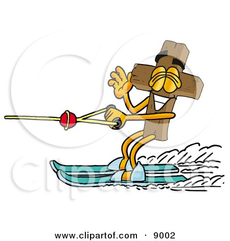 Clipart Picture of a Wooden Cross Mascot Cartoon Character Waving While Water Skiing by Toons4Biz