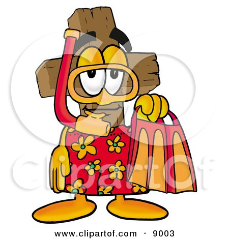 Clipart Picture of a Wooden Cross Mascot Cartoon Character in Orange and Red Snorkel Gear by Toons4Biz