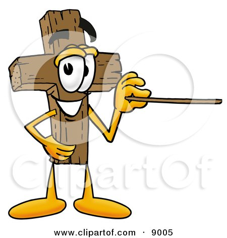 Clipart Picture of a Wooden Cross Mascot Cartoon Character Holding a Pointer Stick by Toons4Biz