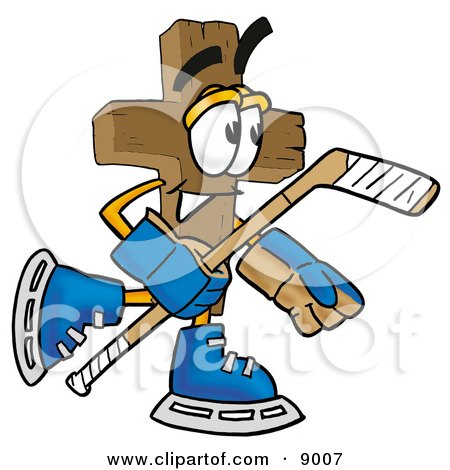 Clipart Picture of a Wooden Cross Mascot Cartoon Character Playing Ice Hockey by Toons4Biz