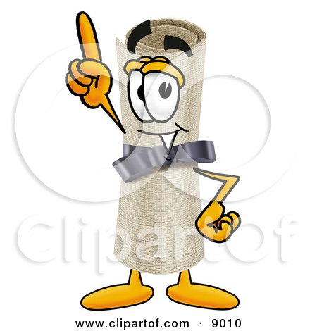 Clipart Picture of a Diploma Mascot Cartoon Character Pointing Upwards by Toons4Biz