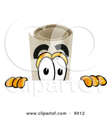 Clipart Picture of a Diploma Mascot Cartoon Character Peeking Over a Surface by Toons4Biz