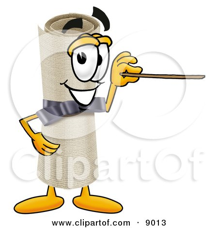 Diploma Mascot Cartoon Character Holding a Pointer Stick Posters, Art Prints