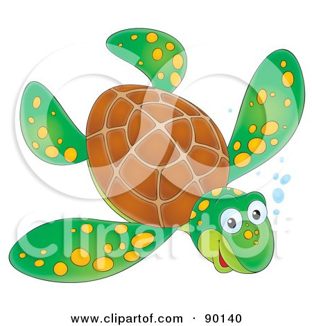 Royalty-Free (RF) Clipart Illustration of a Swimming Wild Green Sea Turtle With Yellow Spots And Bubbles by Alex Bannykh