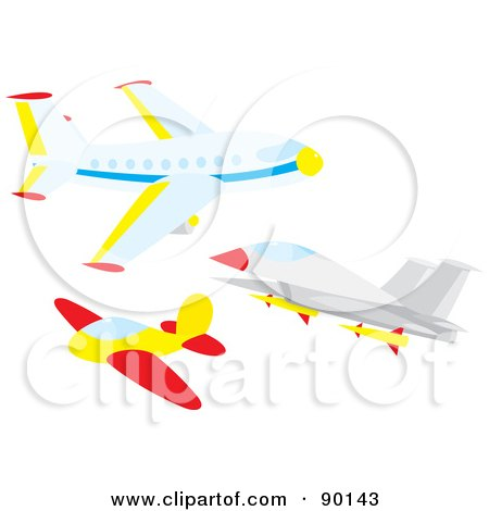 Royalty-Free (RF) Clipart Illustration of a Digital Collage Of An Airliner, Plane And Jet by Alex Bannykh