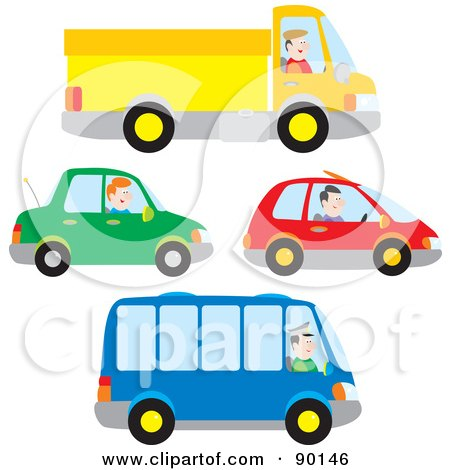 Royalty-Free (RF) Clipart Illustration of a Digital Collage Of Truck, Car And Bus Drivers by Alex Bannykh