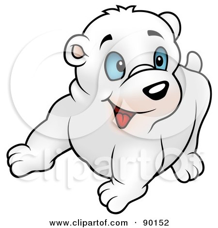 Royalty-Free (RF) Clipart Illustration of a Polar Bea Cub With Blue Eyes, Looking Right by dero
