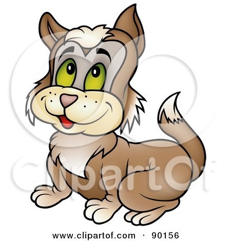 Royalty-Free (RF) Clipart Illustration of a Brown Kitten With Green Eyes by dero