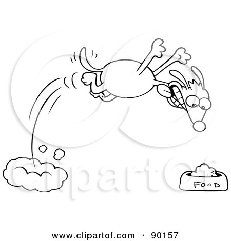 Royalty-Free (RF) Clipart Illustration of an Outlined Hungry Dog Diving Towards His Food Bowl by gnurf