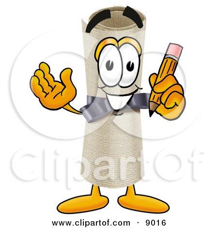 Diploma Mascot Cartoon Character Holding a Pencil Posters, Art Prints