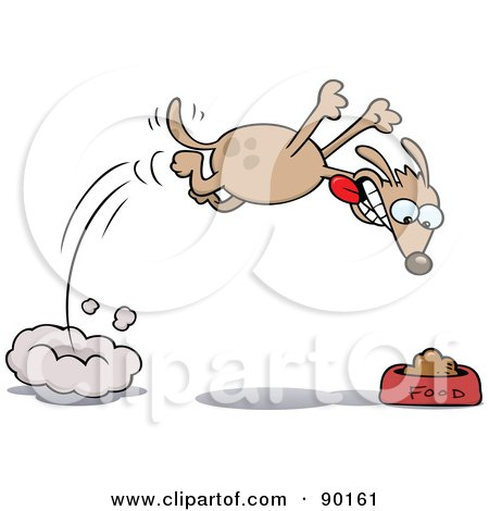 Royalty-Free (RF) Clipart Illustration of a Hungry Dog Diving Towards His Food Bowl by gnurf